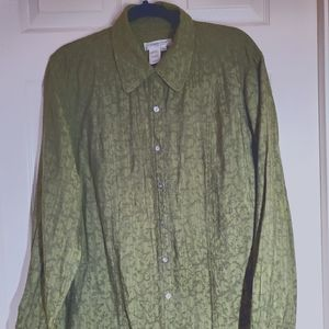 Coldwater Creek Olive button down shirt